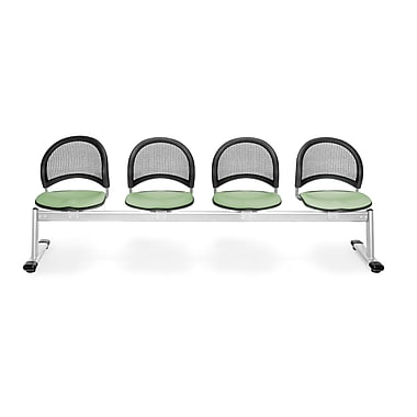 OFM Moon Series Fabric 4 Seat Beam Seating, Sage Green