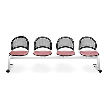 OFM Moon Series Fabric 4 Seat Beam Seating, Coral Pink