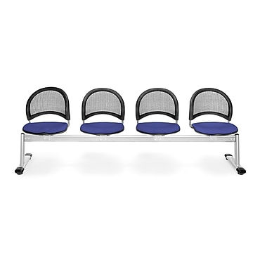 OFM Moon Series Fabric 4 Seat Beam Seating, Royal Blue