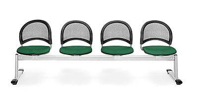 OFM Moon Series Fabric 4 Seat Beam Seating, Forest Green