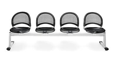 OFM Moon Series Plastic 4 Seat Beam Seating, Black