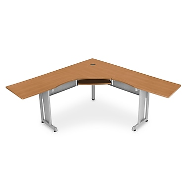 OFM 55177 Melamine L-shaped Workstation, Maple