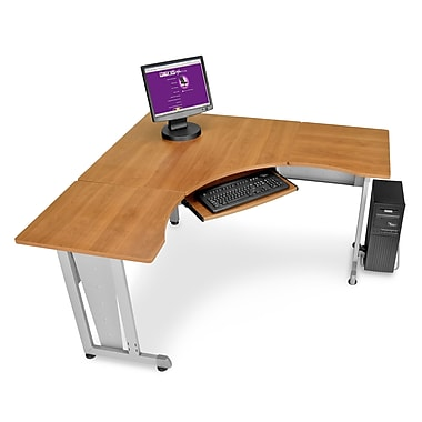 OFM 55196 Melamine L-shaped Workstation, Maple