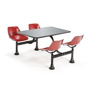 """OFM 30"""" W x 48"""" L Stainless Steel Group/Cluster Table And Chair, Red"""