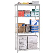 "OFM Steel 72""(H) x 48""(W) x 24""(D) Wire Shelving, Silver"