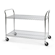 "OFM 48"" H x 24"" W Heavy Duty Wire Shelf Mobile Cart With Industrial Caster, Chrome"