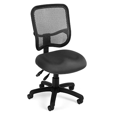 OFM 845123012185 Mesh Comfort Series Ergonomic Fabric Armless Task Chair, Gray
