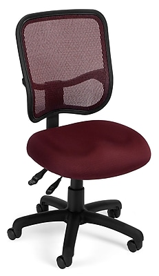 OFM Comfort Series Ergonomic Mesh Swivel Armless Task Chair, Mid Back, Wine (130-A03)