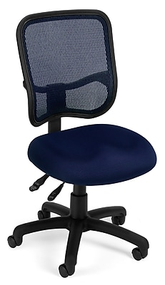 OFM Comfort Series Ergonomic Mesh Swivel Armless Task Chair, Mid Back, Navy (130-A04)