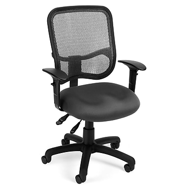 OFM 845123011676 Mesh Comfort Series Ergonomic Fabric Task Chair with Adjustable Arms, Gray
