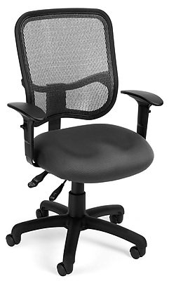 OFM 845123011676 Mesh Comfort Series Ergonomic Fabric Task Chair with Adjustable Arms, Gray (130-AA3-A01)