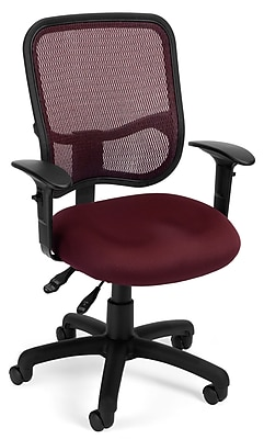OFM 845123011683 Mesh Comfort Series Ergonomic Fabric Task Chair with Adjustable Arms, Wine (130-AA3-A03)