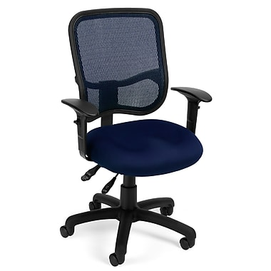 OFM 845123011690 Mesh Comfort Series Ergonomic Fabric Task Chair with Adjustable Arms, Navy