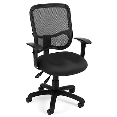 OFM 845123011706 Mesh Comfort Series Ergonomic Fabric Task Chair with Adjustable Arms, Black (845123011706)