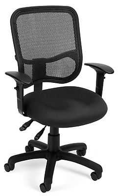 OFM Mesh Comfort Series Ergonomic Fabric Task Chair with Adjustable Arms, Black (130-AA3-A05)