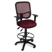 OFM Mesh Comfort Series Fabric Ergonomic Task Arm Stool, Wine