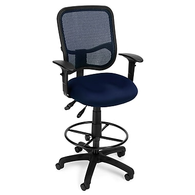 OFM Mesh Comfort Series Fabric Ergonomic Task Arm Stool, Navy