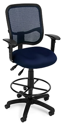 OFM Mesh Comfort Series Fabric Ergonomic Task Arm Stool, Navy (130-AA3-DK-A04)