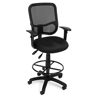 OFM Mesh Comfort Series Fabric Ergonomic Task Arm Stool, Black (845123011744)