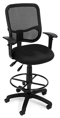 OFM Mesh Comfort Series Fabric Ergonomic Task Arm Stool, Black (130-AA3-DK-A05)