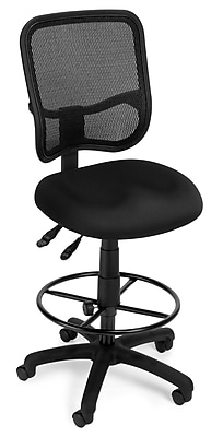 OFM Mesh Comfort Series Fabric Ergonomic Task Stool, Black