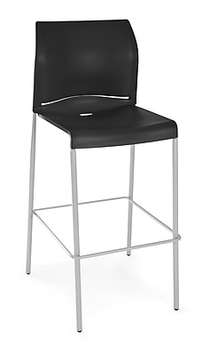 OFM Plastic 2-Pack Cafe Height Stack Chair, Black (E2000-2PK-P0)