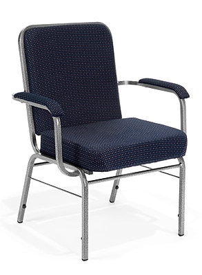 OFM Comfort Class Series Fabric Big And Tall Stack Chair, Navy Pinpoint