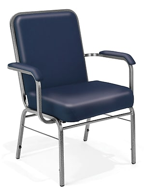 OFM Comfort Class Series 4-Pack Vinyl Big And Tall Stack Chair, Navy (300-XL-V-4PK-605)
