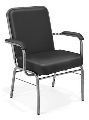 OFM Comfort Class Series Vinyl Big And Tall Stack Chair, Black