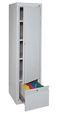 Sandusky® 3 Adjustable Shelves Storage Cabinet with File Drawer, Dove Gray