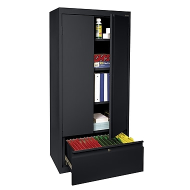 Sandusky® 2 Adjustable Shelves Cabinet with File Drawer, Black