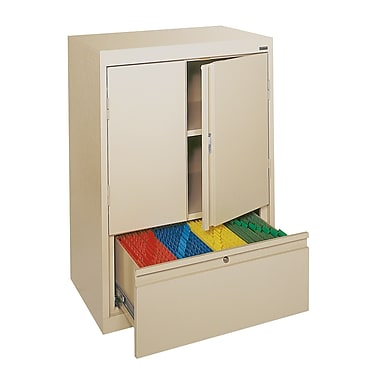 Sandusky® Counter-Height Storage Cabinet with File Drawer, Putty