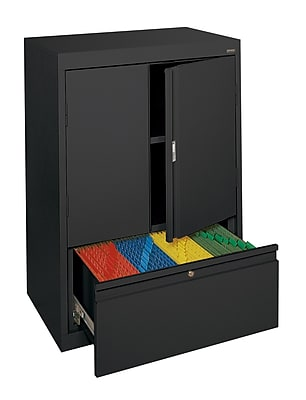 Sandusky® Counter-Height Storage Cabinet with File Drawer, Black