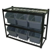 "Sandusky® 33""H x 42""W x 16""D Steel 6 Extra Large Bin Shelving Unit, Black"