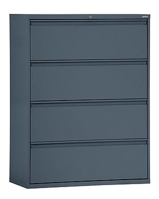 Sandusky 800 Series 4 Drawer Lateral File, Charcoal,Letter/Legal, 42''W (LF8F424-02)