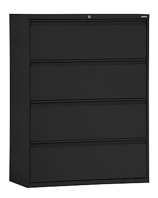 Sandusky 800 Series 4 Drawer Lateral File, Black,Letter/Legal, 42''W (LF8F424-09)