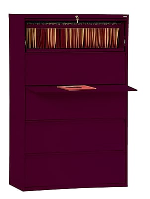Sandusky 800 Series 5 Drawer Lateral File, Red,Letter/Legal, 42''W (LF8F425-03)
