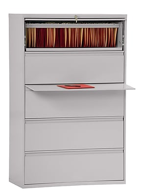 Sandusky 800 Series 5 Drawer Lateral File, Gray,Letter/Legal, 42''W (LF8F425-05)