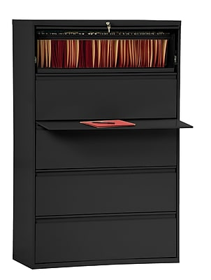 Sandusky 800 Series 5 Drawer Lateral File, Black,Letter/Legal, 42''W (LF8F425-09)