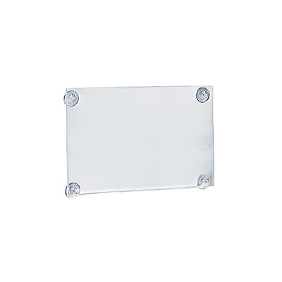 Azar Acrylic Window Mounting Sign Holder with Suction Cups, Clear Acrylic, 11