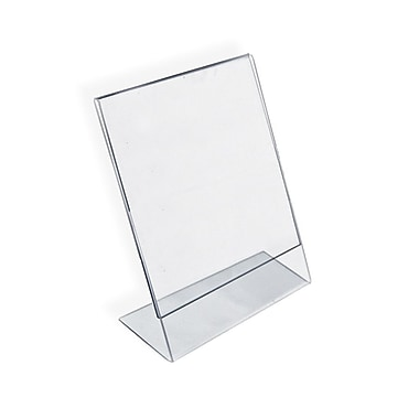 Azar Displays Vertical Slanted L-Shape Acrylic Sign Holder
