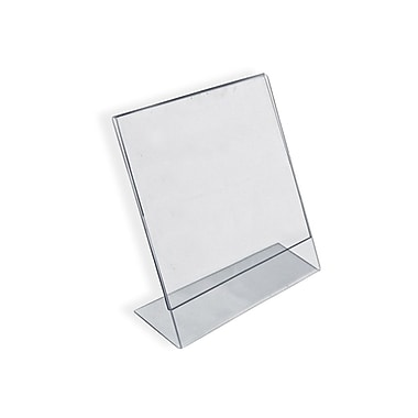 Azar Displays – Porte-enseigne vertical en L incliné, acrylique, 2 po x 3 po, paq./10 (112742)