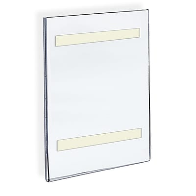 Azar Displays Acrylic Vertical Wall Mount Sign Holder with Adhesive Tape, 14