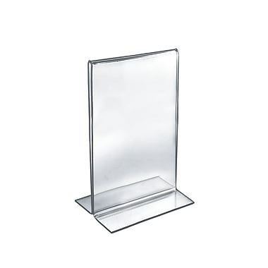 Azar Acrylic 2-Sided Double-Foot Vertical Sign Holder, 11