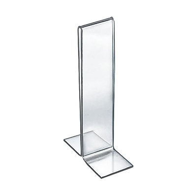 Azar Displays – Porte-affiche en acrylique à pied double, 7 x 2 po, transparent, 10/paquet (152757)