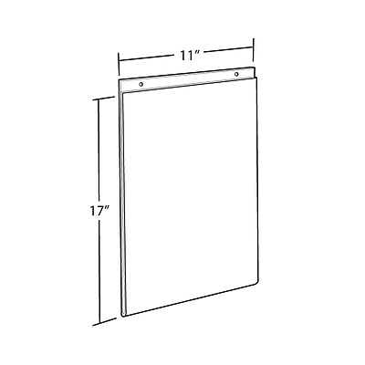 Azar Acrylic Vertical Wall Mount Sign Holder, 17
