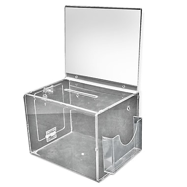 Azar Displays Extra Large Suggestion Box With Pocket, Lock and Keys on Pedestal, Clear