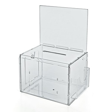 Azar® Extra Large Clear Suggestion Box With Pocket, Lock and Keys, 8-1/4