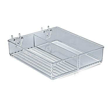 Azar Displays 2 Compartment Tray For Pegboard, Slatwall or Countertop, Clear
