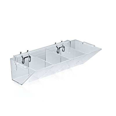 Azar® 4 Compartment Pegboard/Slatwall Tray, Clear, 2/Pk